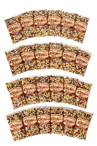 Amish Country Popcorn   24 (4 Oz Bags) Rainbow Kernels   Old Fashioned with Recipe Guide