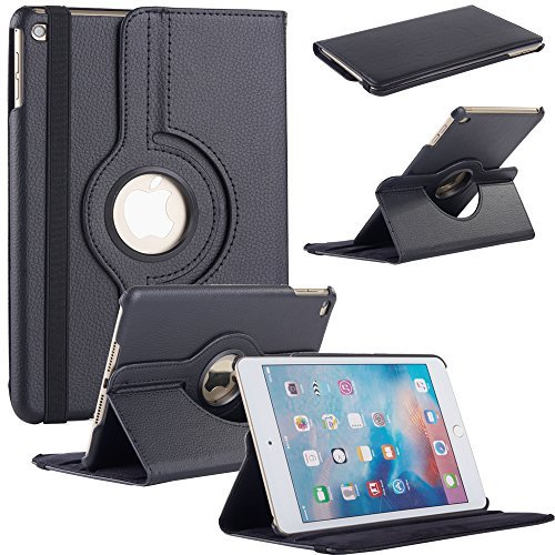 iPad Mini 4 CASE, Fulland Magnetic Folio PU Leather Smart Stand Case Cover with Auto Sleep/Wake Function for Apple iPad Mini 4 (2015 Version) _Black by Fulland