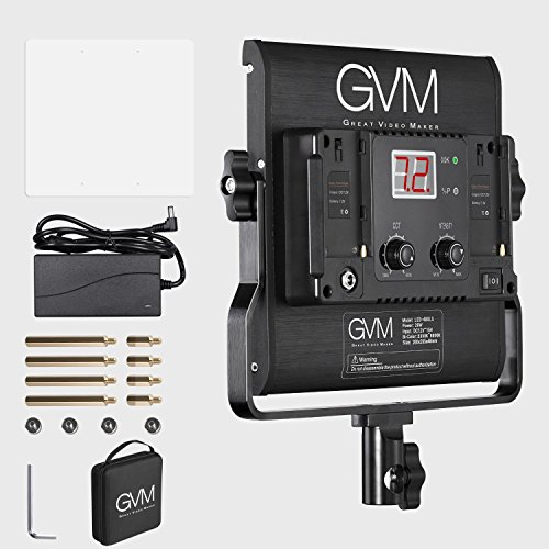 GVM Slim LED Panel Video Light 480pcs 29W CRI97+ TLCI97+ for 4500K Variable Bi-Color Balanced LED Continuous Video Light with Digital