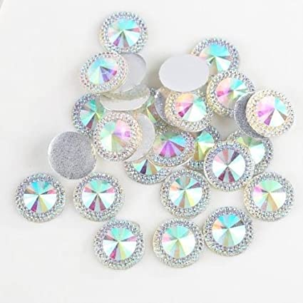 CraftbuddyUS 20mm 50 pcs Clear Flat Back Pointed Diamond Round Rhinestone Resin Gems