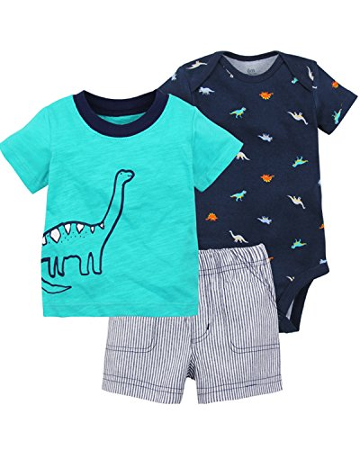 ittle Short Sets Infant Playwear Cotton Bodysuit Tee 3-Piece Summer Sleepwear Pajamas Set Outfits 6-24M B 12 Months (Baby T-shirt Bodysuit Short)