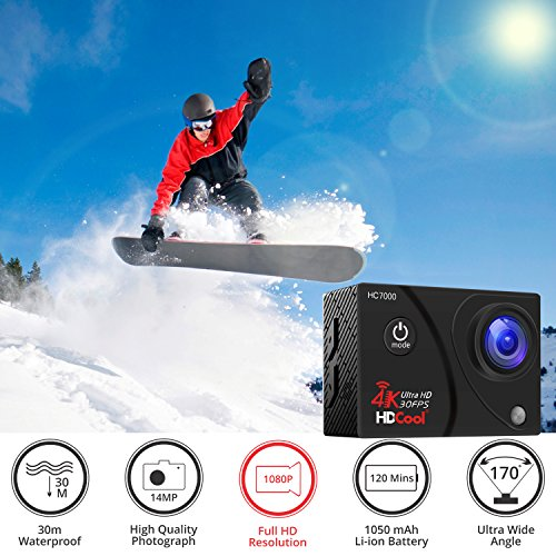 HDCOOL Action Camera Waterproof Sports Camera 1080P 16MP 170° Wide-Angle Lens Underwater DV Camcoder, 2.0 Inch LCD Display,Include 2 Rechargeable Batteries and 2 Covers