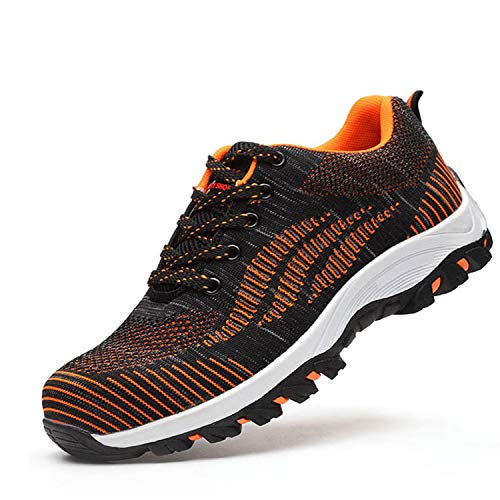 SUADEX Steel Toe Shoes Men, Breathable Lightweight Industrial and Constructions Work Safety Shoes, Puncture Resistant Composite Sneakers 1008-Orange Size8-8.5 Women / 6.5-7 - Mesh Safety Orange