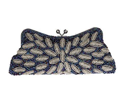 champagne femme taille silvery unique pour Aronvivi Pochette silvery blue fEXwnqWtvc