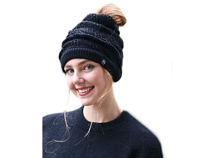 89c095ae196 Pretty Simple Winter Knit Beanies for Pony Tail