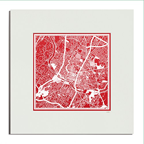 O3 Design Studio Austin Paper Cut Map Matted Red 20x20 inches Paper (Metropolitan Museum Art Sculpture)