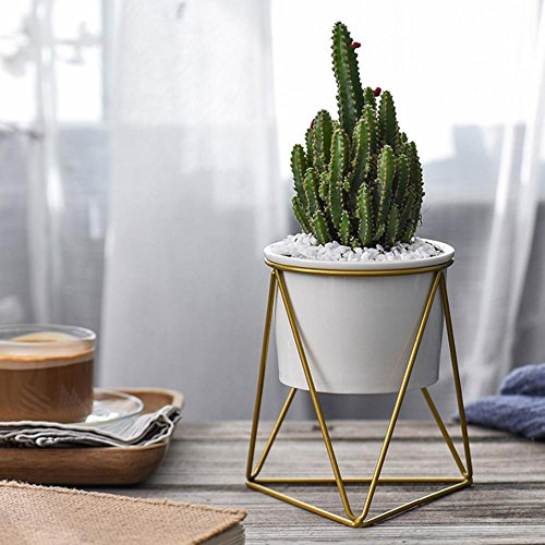 Aolvo Geometric Planter, Planter Pots Indoor 6 inch Ceramic Round Decorative Plant Pot with Metal Stand for Succulent Plants/Cactus/Artificial Plants,Gold and White by Aolvo