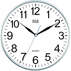 HITO Silent Non-ticking Wall Clock- 10 Inches (Silver)