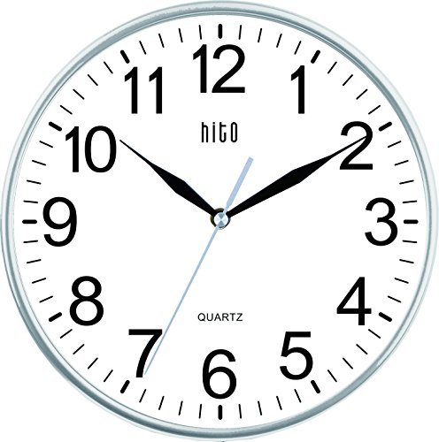 Silent Non ticking Clock Inches Silver product image