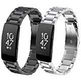 Koreda Compatible Fitbit Inspire/Inspire HR Bands Women Men, 2 Pack Solid Stainless Steel Metal Band Bracelet Strap Replacement for Fitbit Inspire/Inspire HR Smartwatch (Metal Black+ Silver)