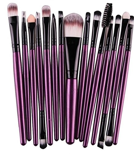 (15 Piece Makeup Brushes Set Eyeshadow Make Up Tools Professional Natural Beauty Palette Vanity Alluring Popular Eyes Faced Colorful Rainbow Hair Highlights Glitter Kids Travel Kit,)