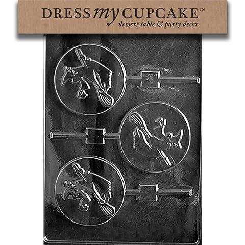 Dress My Cupcake DMCH117 Chocolate Candy Mold, Witch Lollipop, Halloween
