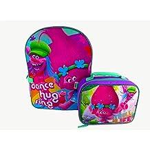 "Dreamworks Trolls Purple W/Blue ""Dance Hug Sing"" Backpack With Detachable Lunch Bag"