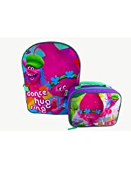 Dreamworks Trolls Purple W/Blue Dance Hug Sing Backpack With Detachable Lunch Bag