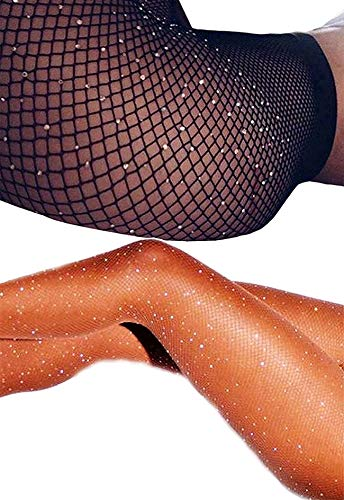 DancMolly Sparkle Rhinestone Fishnet Stockings Crystal High Waist Mesh Hollow Out Pantyhose for Women Tights Set (One Size, 2 Pair Rhinestone Fishnet Stockings,Black+Nude)