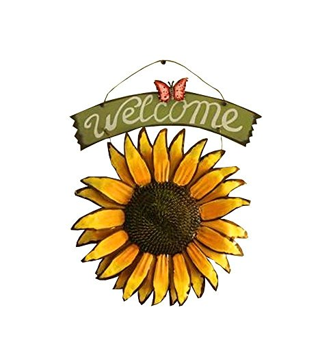 (Kangkang@ Sunflower Welcome to Coffee Shop Door Wall Hanging Sunflower Wall Act the Role Ofing Milk Tea Shop Listing Creative Wall Deco Retro Lovely Sunflower Indoor Outdoor Ornament Yellow 11.8'')