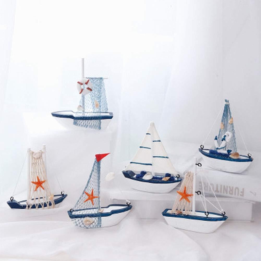 mini barco de vela decoraci/ón para el hogar estilo mediterr/áneo 01 madera madera Modelos de madera para barco marinero 11 x 3 x 12.5cm estilo retro