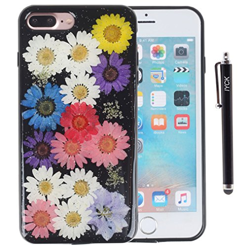 (iPhone 8 Plus Case, iPhone 7 Plus Case, iYCK Handmade [Real Dried Flower] Pressed Floral Jet Black Glitter Bling Flexible Soft Rubber TPU Back Case Cover for iPhone 7/8 Plus 5.5inch - Colorful Flower)