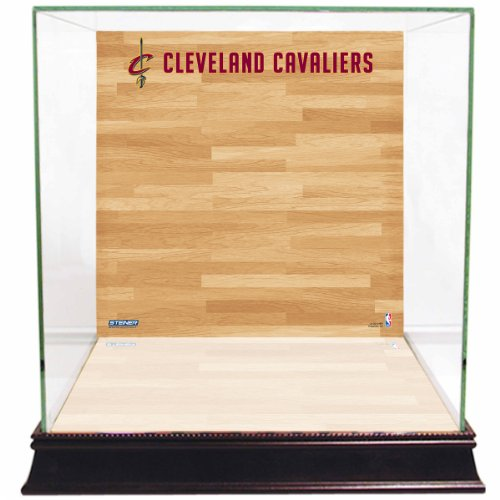 (NBA Cleveland Cavaliers Glass Basketball Display Case with Team Logo on Court Background)