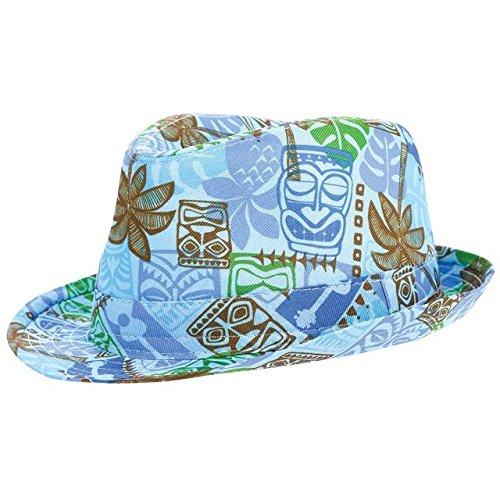 Blue Tropical Tiki Children's Fedora Hat Hawaiian Summer Luau Costume Dress Up Party Headwear, 4