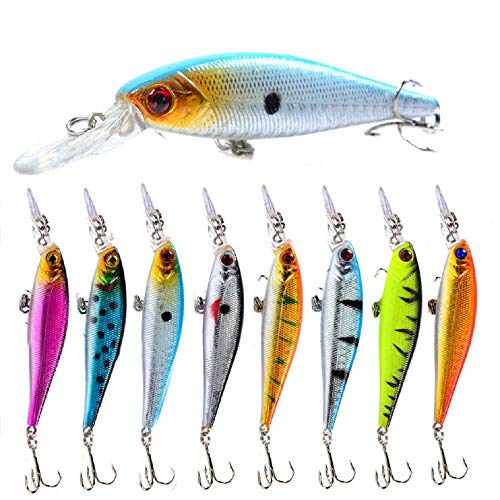 A-SZCXTOP Minnow Fishing Lures Kit Hard Bait Lifelike Swimbaits for Freshwater Saltwater Bass Perch Trout Fishing (Type4)