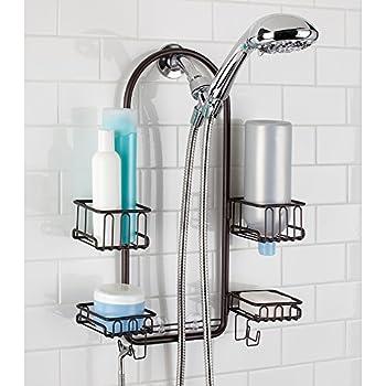 mdesign handheld shower head shower caddy bronze