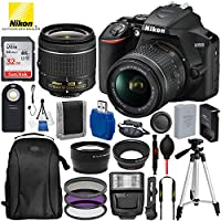 """Nikon D3500 DSLR Camera with 18-55mm Lens and 17PC Accessory Bundle – Includes SanDisk Ultra 32GB SDHC Memory Card + Digital Slave Flash + 3PC Filter Kit + 50"""" Tripod + Professional Backpack + More"""