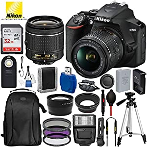 "Nikon D3500 DSLR Camera with 18-55mm Lens and 17PC Accessory Bundle – Includes SanDisk Ultra 32GB SDHC Memory Card + Digital Slave Flash + 3PC Filter Kit + 50"" Tripod + Professional Backpack + More"