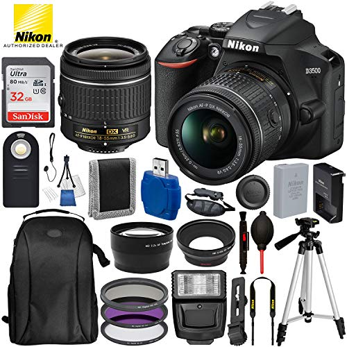 (Nikon D3500 DSLR Camera with 18-55mm Lens and 17PC Accessory Bundle - Includes SanDisk Ultra 32GB SDHC Memory Card + Digital Slave Flash + 3PC Filter Kit + 50