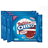 Nabisco, Oreo, Limited Edition, Red Velvet Sandwich Cookies with Cream Cheese Flavored Creme, 10.7oz Bag (Pack of 4)