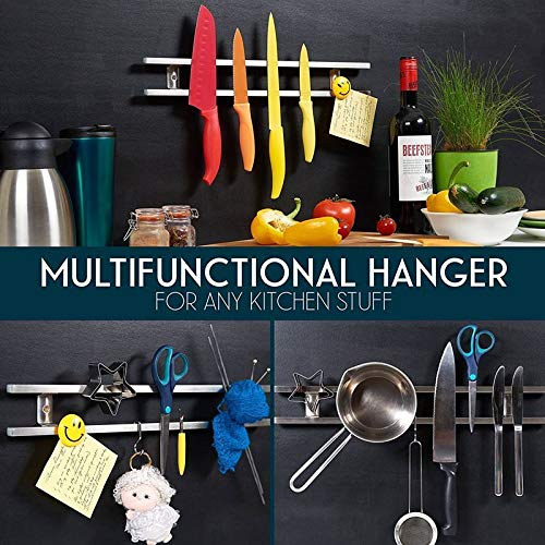 MINESEVEN 18 Inch Stainless Steel Magnetic Knife Holder & Space-Saving Strip for Kitchen Knives Utensils, Office, Craft, Bar, Garage Workshop Tools Wall Rack: Includes 6 Removable Hooks by Mine seven (Image #4)