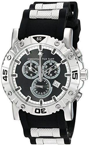Christian Van Sant Men's 'Cosenza' Quartz Stainless Steel and Silicone Watch, Color:Black (Model: CV0510)