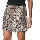 Fashion Women Pants Sexy Snake Print Lace Up Hip Slim Sexy Shorts Pants Skirts Brown