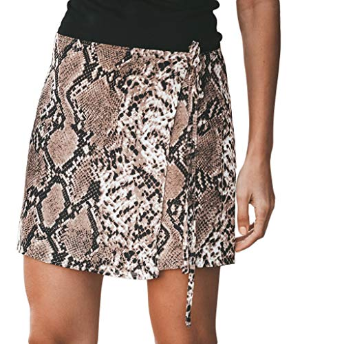 (Sale Shorts for Women,Easter Fashion Women Sexy Snake Print Lace Up Hip Slim Sexy Shorts Pants Brown)