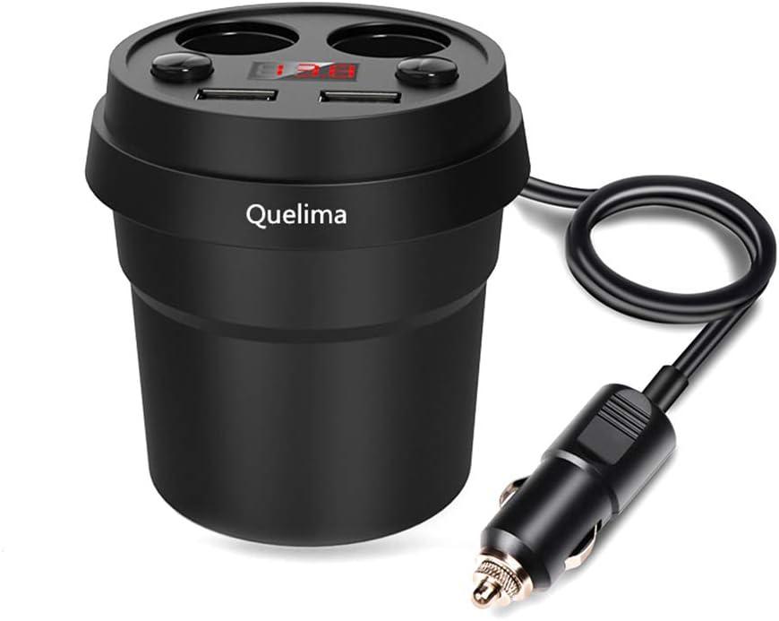 KKmoon Cargador Coche Dual USB Cargador + Doble Enchufe Encendedor de Cigarrillos 120W 12-24V con Digital Pantalla para Cellphones, iPad, GPS & Dash Cam