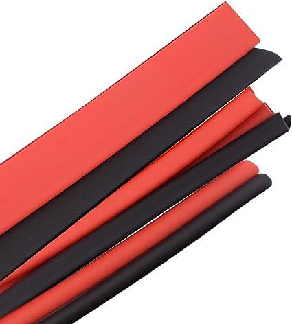 Tubo Termorestringente per Cavi Capicorda Elettrici USB Tubo termoretraibile Cars Electrical Wire Tubing,3 metri Nero 1,5M + Rosso 1,5M B4U Guaine Termorestringenti 2:1 ,5mm-14 mm Diametro