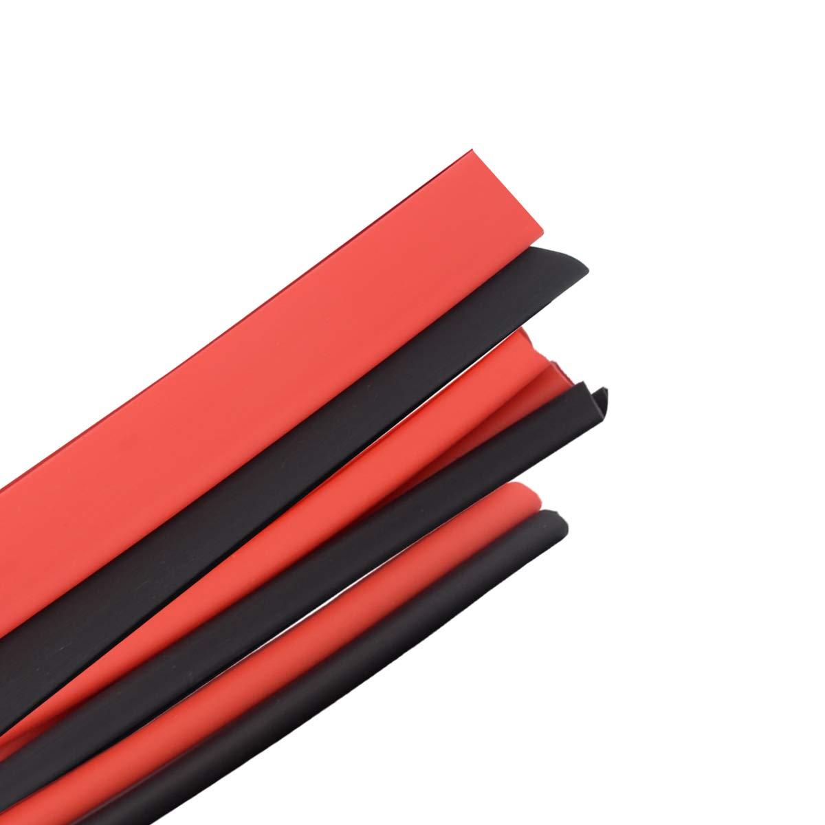 Funda Termoretractil,3 Metros(Negro 1.5M Rojo 1.5M),Varios Di/ámetros Tubo Termorretr/áctil Aislamiento Poliolefina 3 1 con Pegamento,Conectores Electricos,Cinta Aislante Protecci/ón el Cable