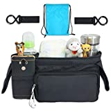 Luxury Stroller Organizer with 2 Cup Holders, Stroller Cup Holder, Universal Stroller Bag Fits Most Strollers - Comes with 2 Stroller Hooks and Carry Bag