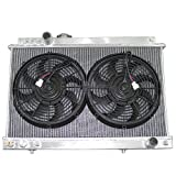 "CXRacing Radiator + Two 12"" Fan For Toyota Supra 86-92 Manual MKIII 7M-GTE 7MGTE or 1JZ-GE 1JZ-GTE Swap"