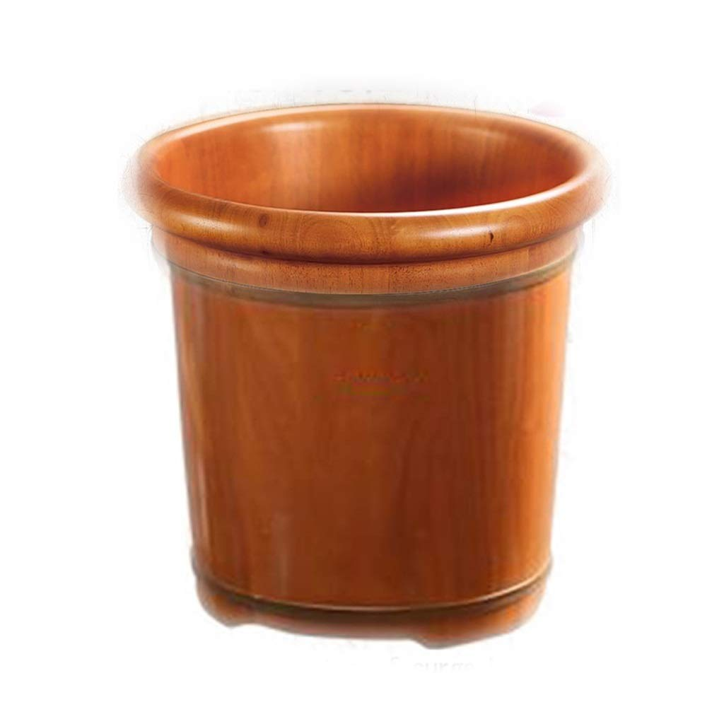 Foot Bath Tub, Boutique Oak Foot Bath Barrel, Heightened Household Wooden Insulation Foot Basin ,with Universal Wheel, Gravity Drainage (Size : 40cm)