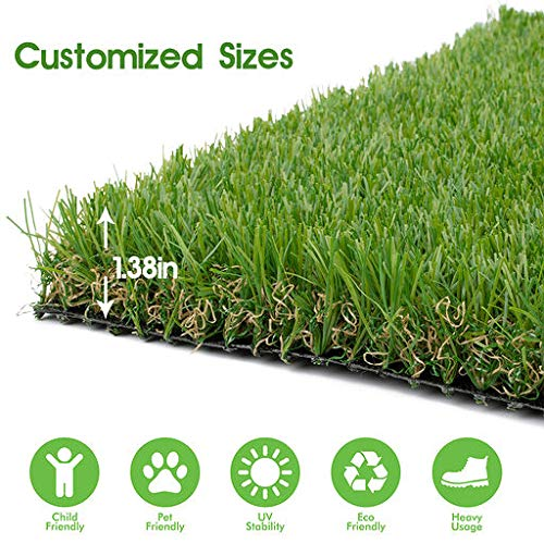 Realistic Thick Artificial Grass Turf -Indoor Outdoor Garden Lawn Landscape Synthetic Grass Mat - Thick Fake Grass Rug 3FTX5FT