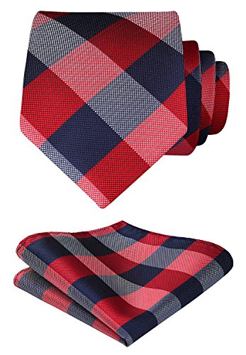 HISDERN Plaid Tie Handkerchief Woven Classic Stripe Men's Necktie & Pocket Square Set (Red & Gray)