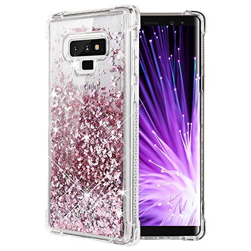 Caka Galaxy Note 9 Case, Galaxy Note 9 Glitter Case [Shockproof Glitter Series] Luxury Bling Fashion Flowing Liquid Floating Sparkle Soft TPU Clear Case for Samsung Galaxy Note 9 - (Rose Gold)