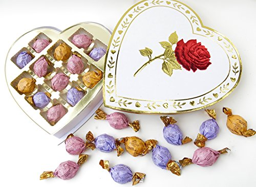 MOM'S Easter basket alternative, ROSE HEART Godiva chocolate Dessert Truffles , Christmas Heart, Cheesecake, Chocolate Lava, Creme Burl in Beautiful Love Single Rose Box Withmetalic Gold Trim,