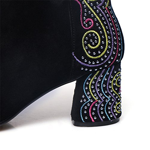 Zipper Leather Ankle Heel Black colorful Chunky Toe Boots Special Square Suede Seven Handmade Women's Nine HZqwxg84fZ