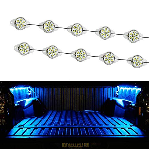 iJDMTOY 10-Piece Universal Fit 90-LED Waterproof Ultra Blue Truck Bed Cargo Area LED Lighting ()