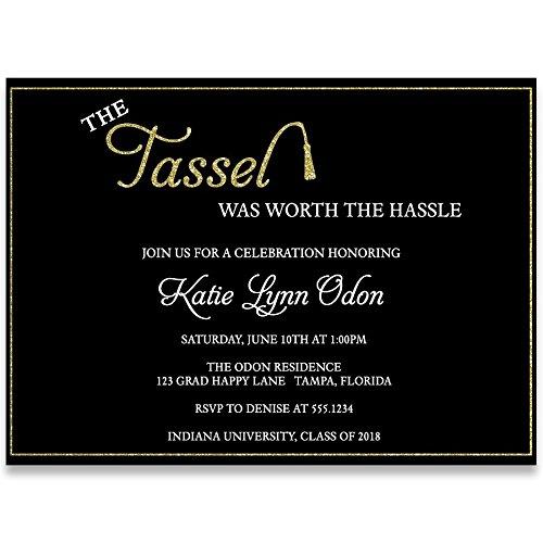 Tassel Hassle Graduation Invitation, Black, White, Gold, Graduation Invitation, College, High School, Military, Graduate, Commencement, Grad Invite, Pack of 10 Custom Graduation Invites with Envelopes