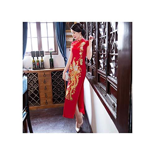 (2019 Summer Beautiful New Catwalk Large Size Long Cheongsam Show Bride Dress Large Size Mother Dress Cheongsam,2017 Hongfeng,L)
