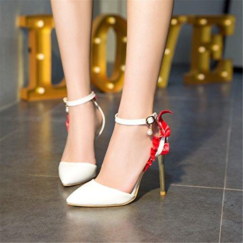 Tacón White Mujer Sandalias Nbsp;señoras Moda Amarre Zapatos Alto De 54jALR