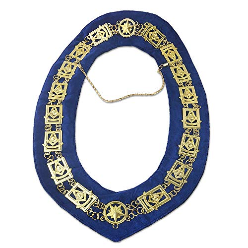 FunYan Masonic Past Master Chain Collar Blue Velet Backing Gold Plated